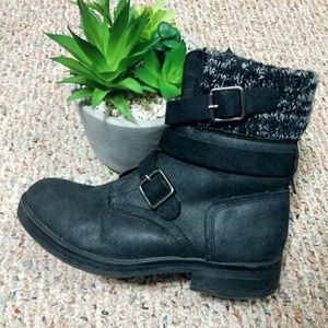 Candies Black Buckle Sweater Ankle Boots